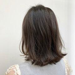 ミディアム ふんわり 可愛い ワンレンベース ヘアスタイルや髪型の写真・画像