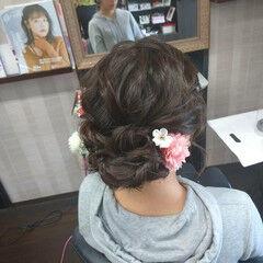 成人式ヘア ヘアアレンジ ミディアム ナチュラル ヘアスタイルや髪型の写真・画像