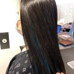 ターコイズブルー ロング エレガント インナーカラー ヘアスタイルや髪型の写真・画像