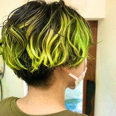 ストリート ユニコーンカラー グラデーションカラー ハンサムショート ヘアスタイルや髪型の写真・画像