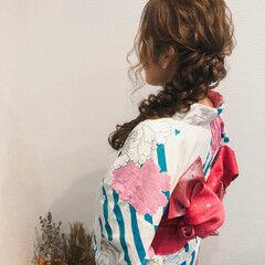 編みおろし ロング フェミニン ヘアセット ヘアスタイルや髪型の写真・画像
