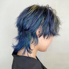 ショート モード マッシュウルフ ブリーチ ヘアスタイルや髪型の写真・画像