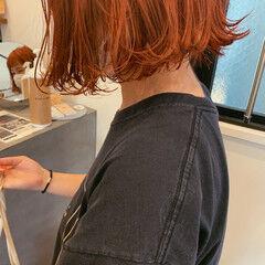 外ハネボブ 切りっぱなしボブ ダブルカラー オレンジ ヘアスタイルや髪型の写真・画像