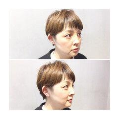 アッシュ ナチュラル ショート ボルドー ヘアスタイルや髪型の写真・画像