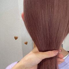 韓国ヘア ピンクブラウン ピンクベージュ ナチュラル ヘアスタイルや髪型の写真・画像