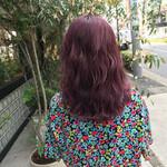 ピンク ミディアム カール 波ウェーブ