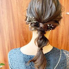 ヘアアクセサリー 編みおろし ヘアアレンジ お呼ばれヘア ヘアスタイルや髪型の写真・画像