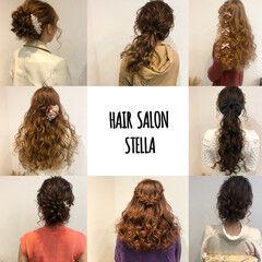 フェミニン ヘアアレンジ ポニーテール ロング ヘアスタイルや髪型の写真・画像