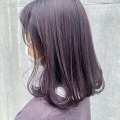 ラベンダーグレージュ フェミニン ラベンダー ハイトーンカラー ヘアスタイルや髪型の写真・画像