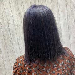 ラベンダーカラー ラベンダーグレー ボブ ラベンダーグレージュ ヘアスタイルや髪型の写真・画像