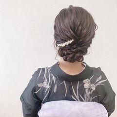 浴衣アレンジ セミロング 訪問着 着物 ヘアスタイルや髪型の写真・画像