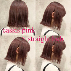 コリアンピンク ボブ モード ブリーチ ヘアスタイルや髪型の写真・画像