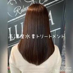大人女子 セミロング 髪質改善 フェミニン ヘアスタイルや髪型の写真・画像
