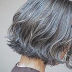 切りっぱなしボブ 巻き髪 3Dハイライト ナチュラル