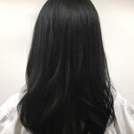 レイヤーカット セミロング 黒髪 ミディアム