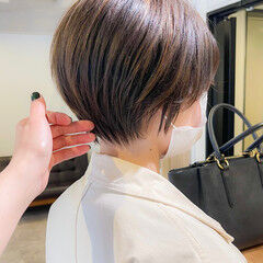 小顔ショート ナチュラル ショートボブ ショートヘア ヘアスタイルや髪型の写真・画像