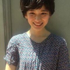 ショートバング パーマ 田中美保 ウェーブ ヘアスタイルや髪型の写真・画像