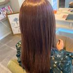 セミロング 艶髪 ピンクアッシュ ピンクベージュ