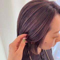 艶髪 暗髪バイオレット バイオレットアッシュ ナチュラル ヘアスタイルや髪型の写真・画像