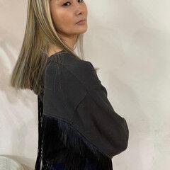 ハイライト ワンレングス ワンレン コントラストハイライト ヘアスタイルや髪型の写真・画像