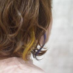 ボブ メッシュ 青紫 カラーバター ヘアスタイルや髪型の写真・画像