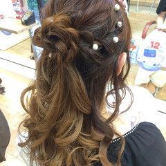 ロング ハーフアップ 大人かわいい ツイスト ヘアスタイルや髪型の写真・画像
