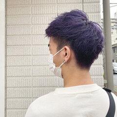 ブリーチカラー パープルカラー ショート ストリート ヘアスタイルや髪型の写真・画像