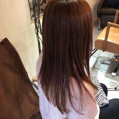 フェミニン ロング ヘアカラー ピンクブラウン ヘアスタイルや髪型の写真・画像