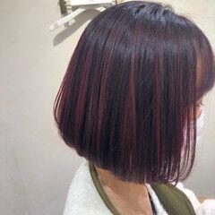 ラズベリーピンク ボブ カシスレッド チェリーレッド ヘアスタイルや髪型の写真・画像