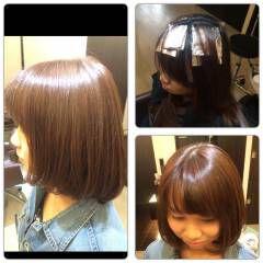 オレンジ ローライト ワンレングス ボブ ヘアスタイルや髪型の写真・画像