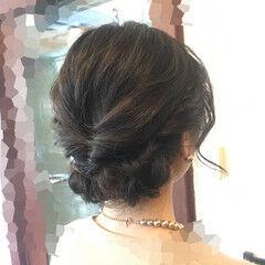 くるりんぱ フェミニン 結婚式 ヘアアレンジ ヘアスタイルや髪型の写真・画像