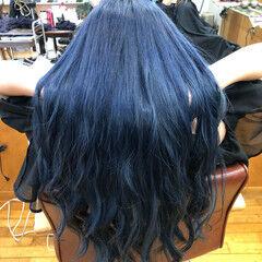 グラデーションカラー フェミニン 外国人風カラー ブルー ヘアスタイルや髪型の写真・画像