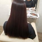 艶髪 ロング ラベンダーピンク 縮毛矯正