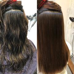 ナチュラル ロング トリートメント 縮毛矯正 ヘアスタイルや髪型の写真・画像