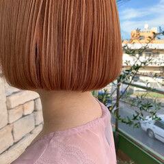 コーラル ナチュラル ベージュ ボブ ヘアスタイルや髪型の写真・画像