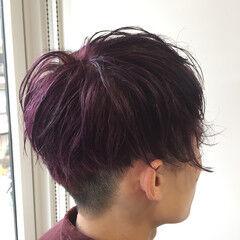 青紫 メンズヘア ショート メンズカラー ヘアスタイルや髪型の写真・画像