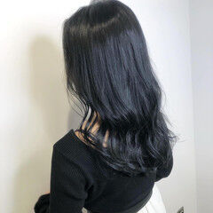 ナチュラル ブルージュ ダークグレー ブルーブラック ヘアスタイルや髪型の写真・画像