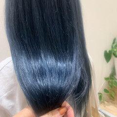 ターコイズブルー ストリート ネイビーブルー ロング ヘアスタイルや髪型の写真・画像