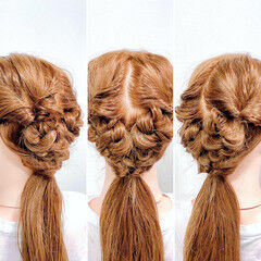 フェミニン ヘアセット ダウンスタイル セルフヘアアレンジ ヘアスタイルや髪型の写真・画像