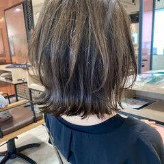 極細ハイライト アンニュイほつれヘア グレージュ ボブ ヘアスタイルや髪型の写真・画像