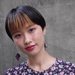 黒髪ショート モード ハイライト インナーカラー ヘアスタイルや髪型の写真・画像
