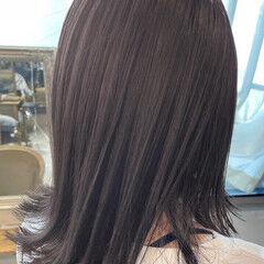 ブルーアッシュ ミディアム ターコイズブルー ネイビーブルー ヘアスタイルや髪型の写真・画像