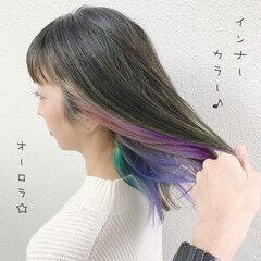 バレイヤージュ ブリーチ ユニコーンカラー インナーカラー ヘアスタイルや髪型の写真・画像