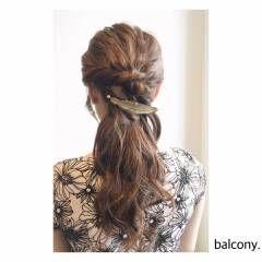 フェミニン ロープ編み ガーリー ヘアアレンジ ヘアスタイルや髪型の写真・画像