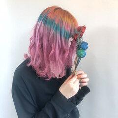 フェミニン ミニボブ 色落ち 切りっぱなしボブ ヘアスタイルや髪型の写真・画像