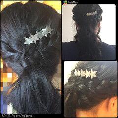 ヘアアレンジ ヘアクリップ ロング 黒髪 ヘアスタイルや髪型の写真・画像