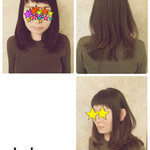 ミディアム ベビーバング 前髪あり グラデーションカラー