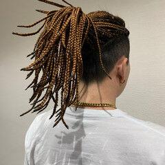 ストリート ロング コーンロウ ブレイズ ヘアスタイルや髪型の写真・画像
