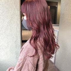 ダブルカラー ラベンダーピンク セミロング パープルカラー ヘアスタイルや髪型の写真・画像