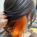 オレンジカラー ボブ オレンジ インナーカラーオレンジ